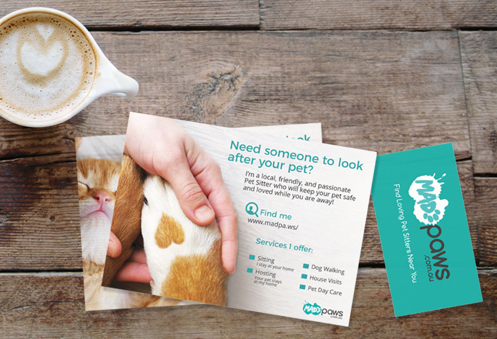 for a long time there was no clear path for pet sitters to order mad paws flyers or business cards sure mad paws offered a template and logo